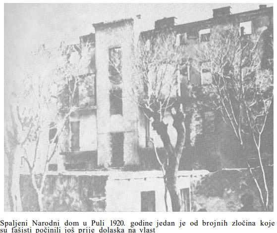 spaljeni Narodni dom u Istri