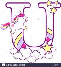 u-iniziale-con-graziosi-unicorn
